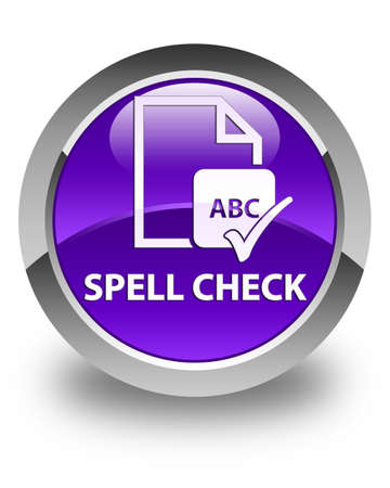 ok sign language: Spell check document glossy purple round button Stock Photo