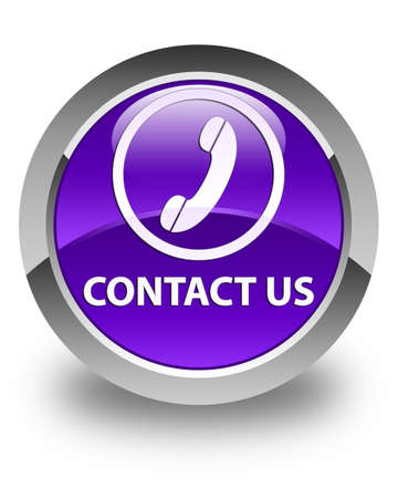 phone us: Contact us (phone icon round border) glossy purple round button Stock Photo