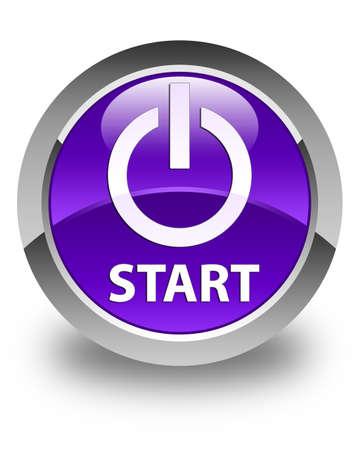 button: Start (power icon) glossy purple round button Stock Photo