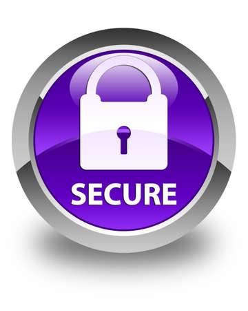 key hole shape: Secure (padlock icon) glossy purple round button Stock Photo
