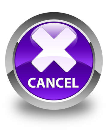 cancel: Cancel glossy purple round button Stock Photo