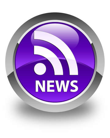news current events: News (RSS icon) glossy purple round button Stock Photo