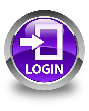 secure site: Login glossy purple round button Stock Photo