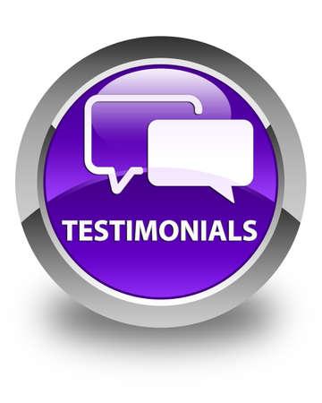 authenticate: Testimonials glossy purple round button