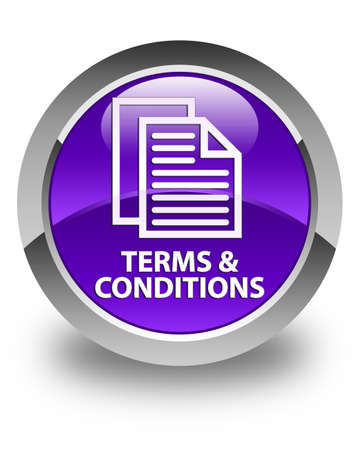 term and conditions: Terms and conditions (pages icon) glossy purple round button Stock Photo