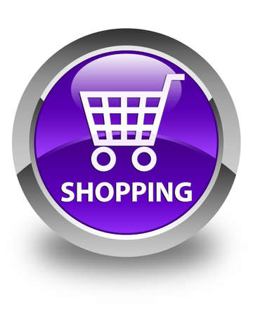 online purchase: Shopping glossy purple round button Stock Photo