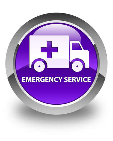 urgent care: Emergency service glossy purple round button