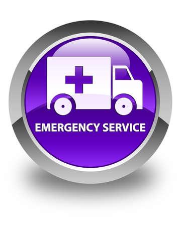 heathcare: Emergency service glossy purple round button