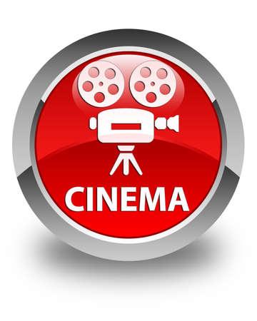 cinematographic: Cinema (video camera icon) glossy red round button