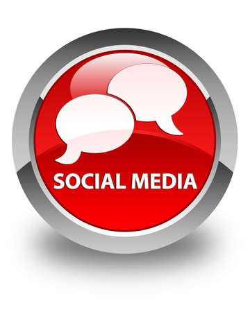 instant message: Social media (chat bubble icon) glossy red round button