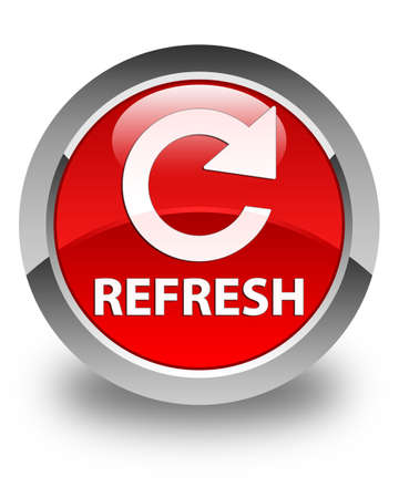 rotate: Refresh (rotate arrow icon) glossy red round button