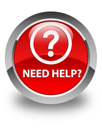 need help: Need help (question icon) glossy red round button Stock Photo