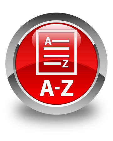 az: A-Z (list page icon) glossy red round button Stock Photo