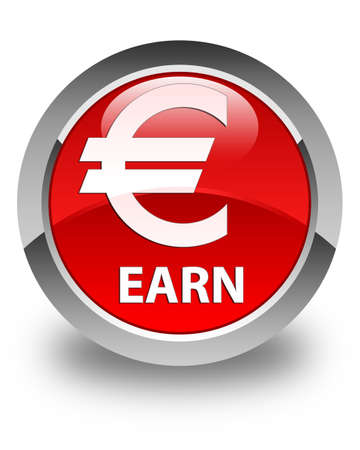 earn: Earn (euro sign) glossy red round button