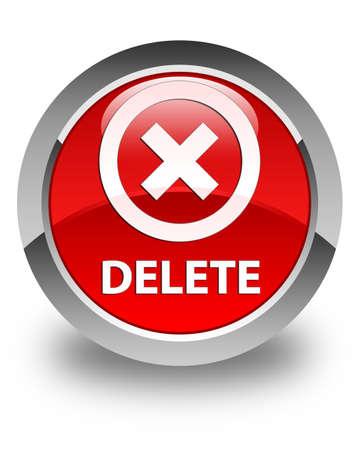 delete: Delete glossy red round button Stock Photo