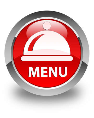 cater: Menu (food dish icon) glossy red round button Stock Photo