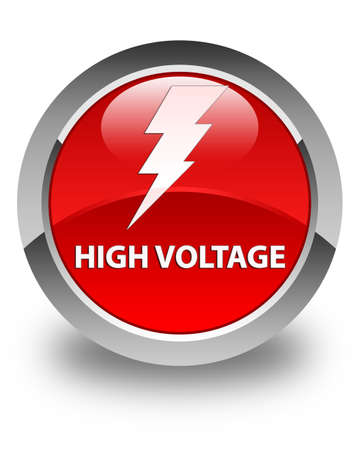 high voltage: High voltage (electricity icon) glossy red round button Stock Photo