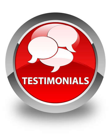 authenticate: Testimonials (comments icon) glossy red round button Stock Photo