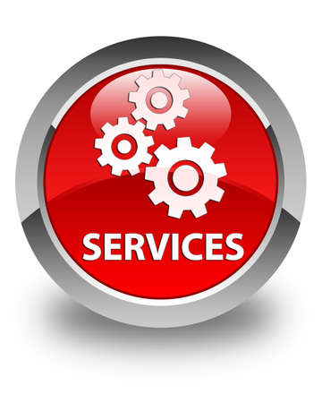 machine tool: Services (gears icon) glossy red round button Stock Photo