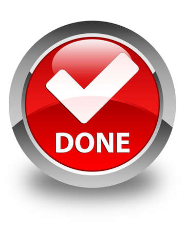 validate: Done (validate icon) glossy red round button Stock Photo