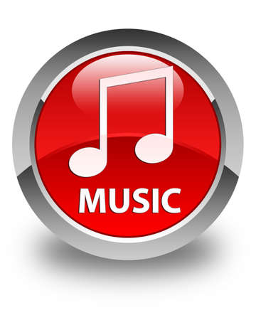 tune: Music (tune icon) glossy red round button
