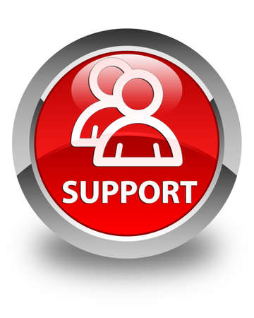 support group: Support (group icon) glossy red round button
