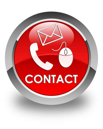 phone button: Contact (phone, email and mouse icon) glossy red round button
