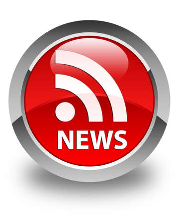 news current events: News (RSS icon) glossy red round button Stock Photo