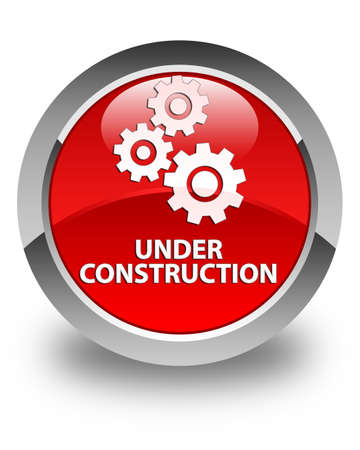 under control: Under construction (gears icon) glossy red round button
