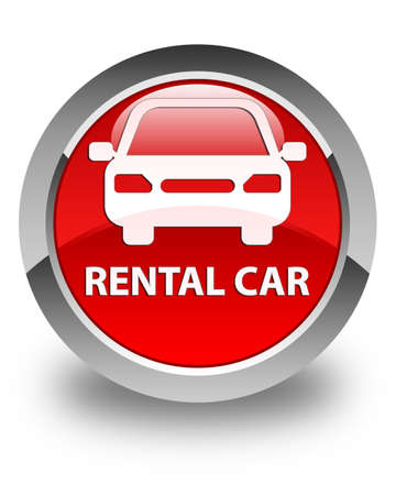 rental: Rental car glossy red round button