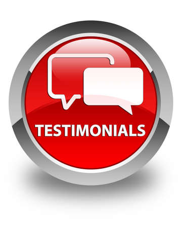 authenticate: Testimonials glossy red round button Stock Photo