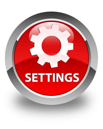 settings: Settings glossy red round button Stock Photo