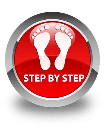 familiar: Step by step (footprint icon) glossy red round button