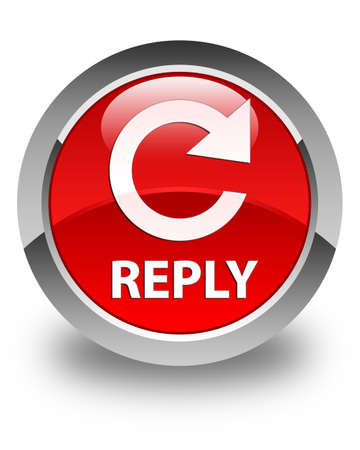 reply: Reply (rotate arrow icon) glossy red round button