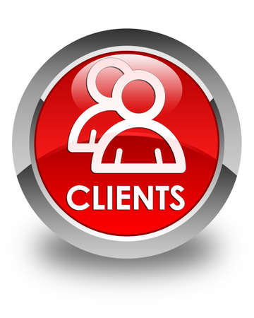 clients: Clients (group icon) glossy red round button
