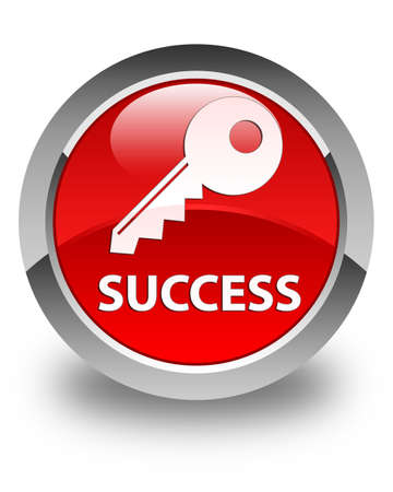 success key: Success (key icon) glossy red round button