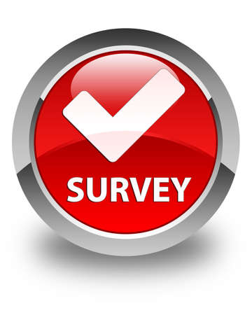 validate: Survey (validate icon) glossy red round button Stock Photo