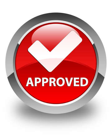 validate: Approved (validate icon) glossy red round button
