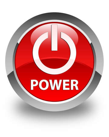 press button: Power glossy red round button Stock Photo