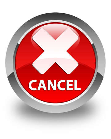 cancel: Cancel glossy red round button