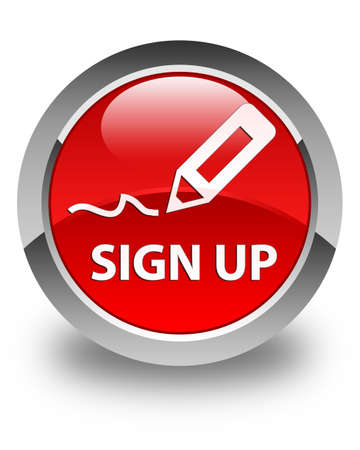 sign up: Sign up glossy red round button