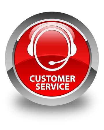 customer care: Customer service (customer care icon) glossy red round button
