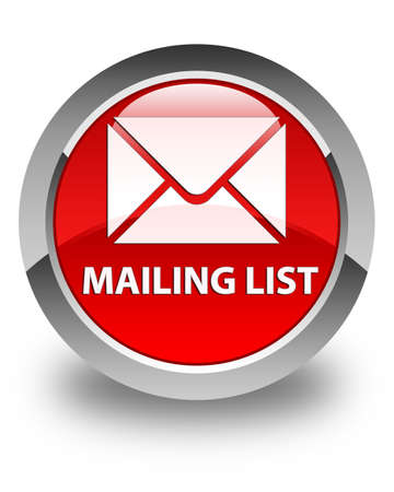glassy: Mailing list glossy red round button Stock Photo