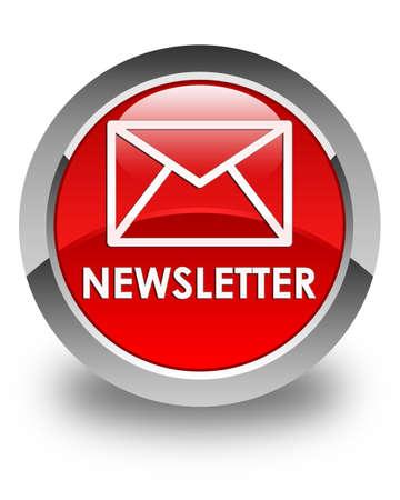 round button: Newsletter glossy red round button Stock Photo