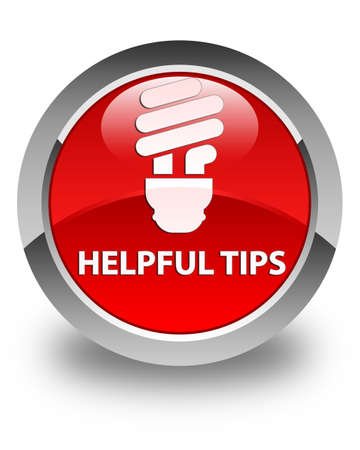 helpful: Helpful tips (bulb icon) glossy red round button