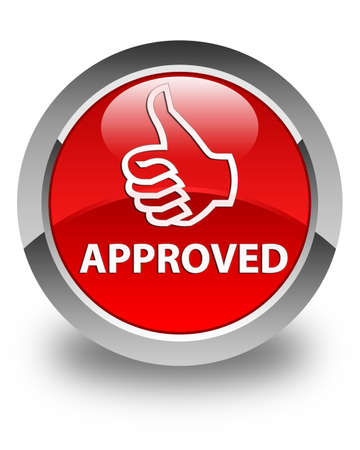 thumbs up icon: Approved (thumbs up icon) glossy red round button