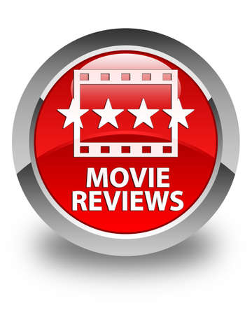 ratings: Movie reviews glossy red round button Stock Photo