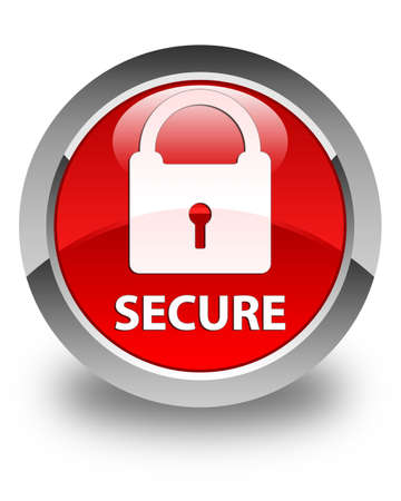 key hole: Secure (padlock icon) glossy red round button