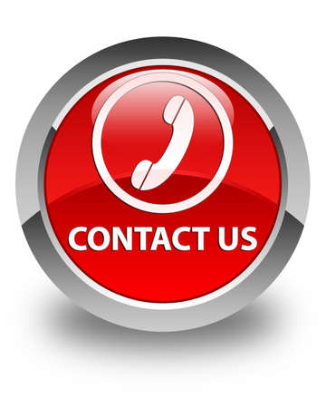 contact us phone: Contact us (phone icon round border) glossy red round button Stock Photo