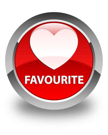 favourite: Favourite (heart icon) glossy red round button